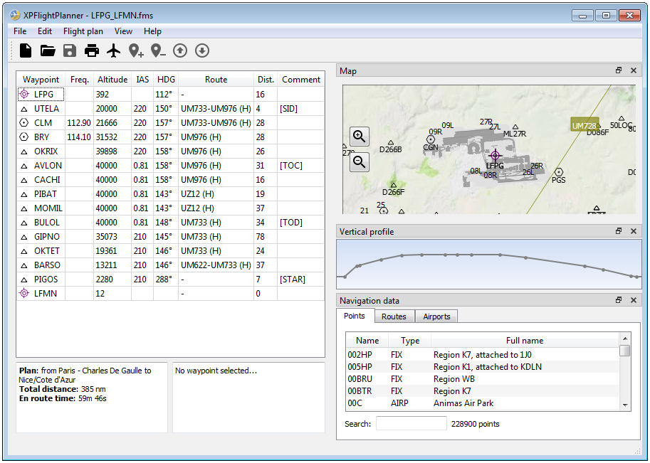 XPFlightPlanner main window