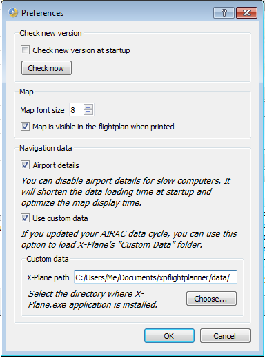 XPFlightPlanner preferences window